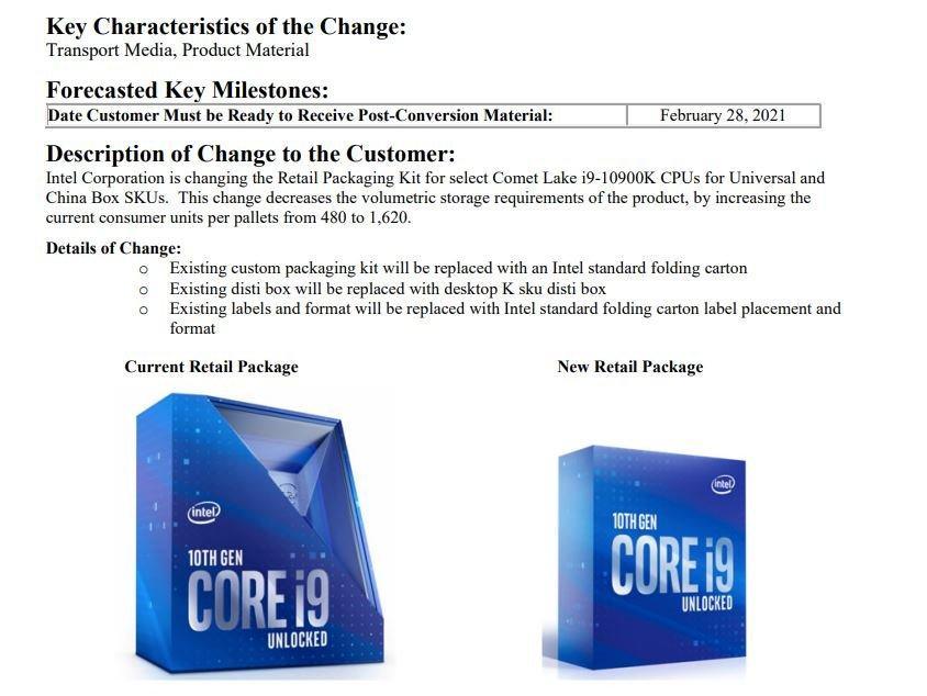 Intel, Core i9-10900K Amiral Gemisinin Kutusunu Değiştiriyor